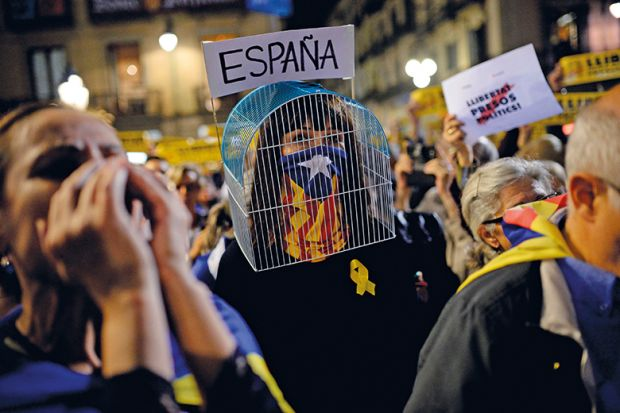 at a recent demonstration in Barcelona, Catalonians protested the detention of Catalan officials in Madrid