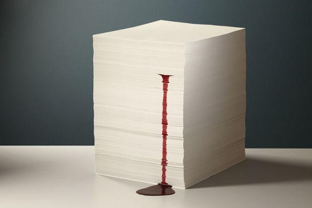 Bleeding stack of paper