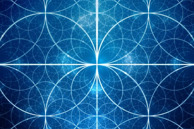 Blue glowing symmetrical fractal circles