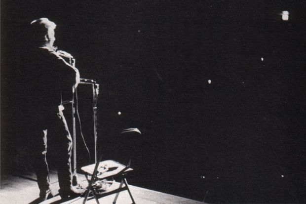 Bob Dylan singing live on stage