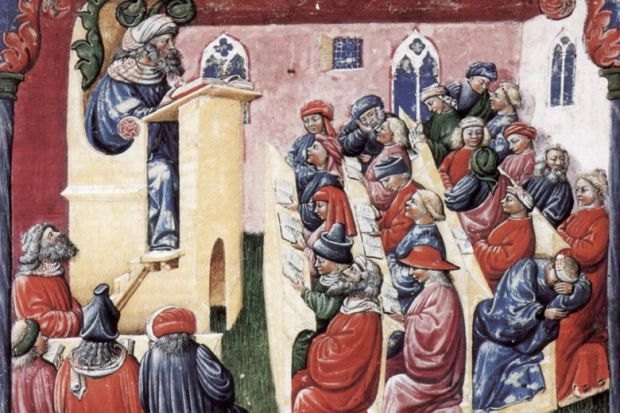 14th century image showing lecture to students in Bologna