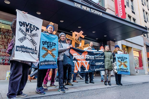 Protest on divestment from fossil fuels