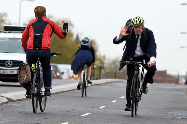 Boris Johnson cycling