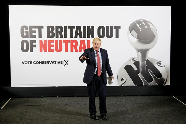 British Prime minister Boris Johnson launches a general campaign poster, 2019