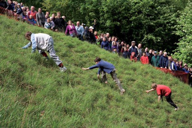 Boys taking part in uphill race, Brockworth, Gloucestershire