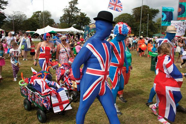 People in Union Jack costumes