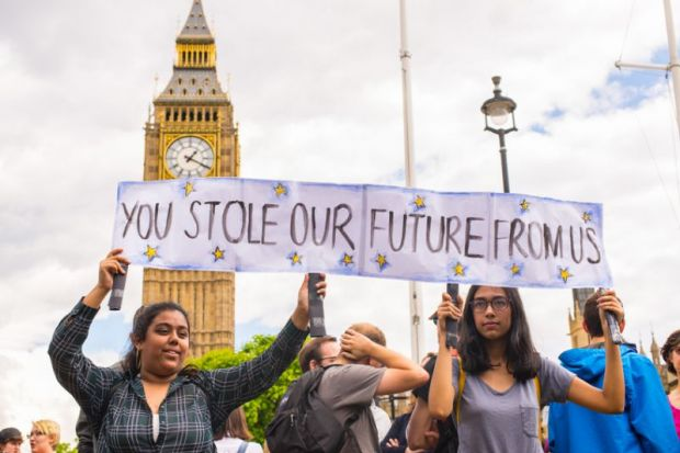 Students at a protest against Brexit in front of the Houses of Parliament, June 2016