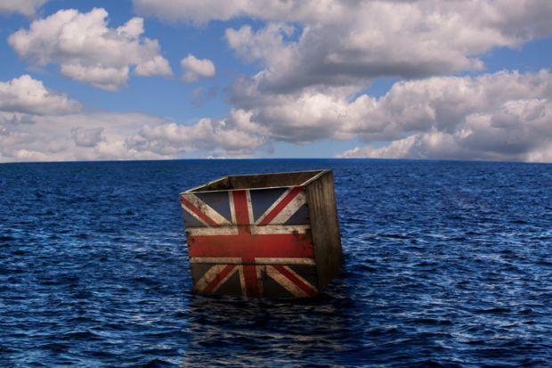 Britain Union flag box floating in sea