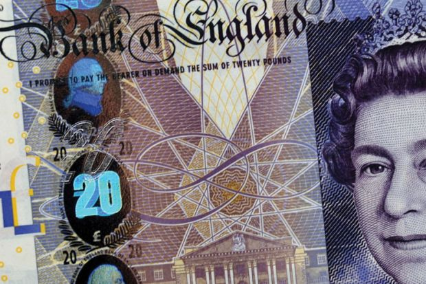 British twenty pound note (detail)