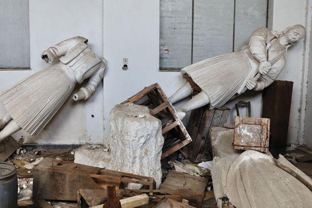 Broken statues vandalised in studio of sculptor Nikolas Pavlopoulos, Athens, Greece
