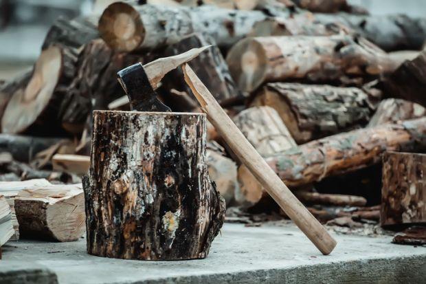 A broken axe symbolising arts funding cuts