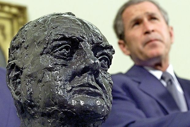 Bush with Churchill head