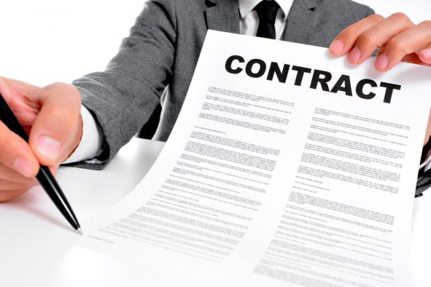 Businessman holding contract of employment