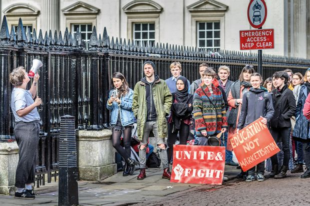 A protest outside Cambridge University during the pensions row 2018