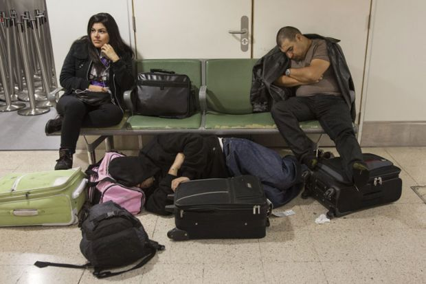 Cancelled flight passengers, Heathrow Airport, London, 2012