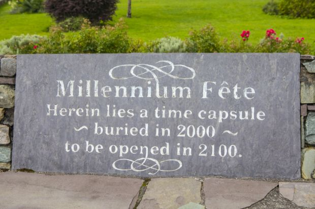 A plaque in the village of Sneem in County Kerry, Ireland, marking where a time capsule was buried during the millennium celebrations in 2000. The capsule will be opened in 2100.