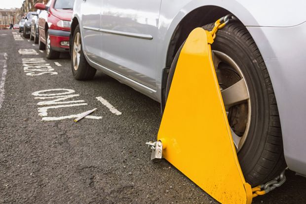 Car with clamped wheel