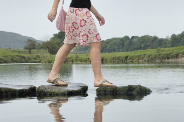 Career progression, woman walking across stepping stones in water