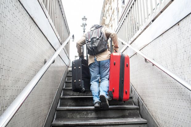 Carrying baggage upstairs