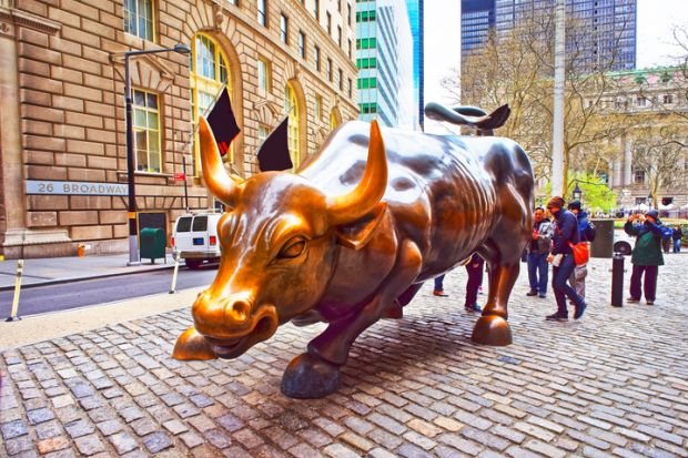 Charging bull in Wall Street, New York