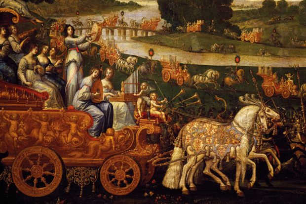 Chariot of Musicians, Detail from Earth painting, Claude Deruet