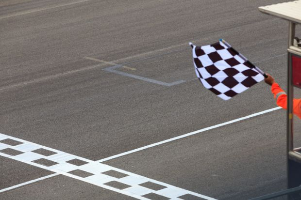 Chequered flag waving
