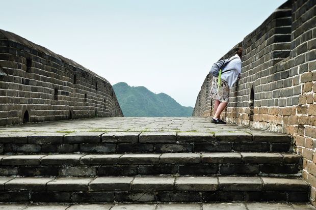 Woman on Great Wall of China