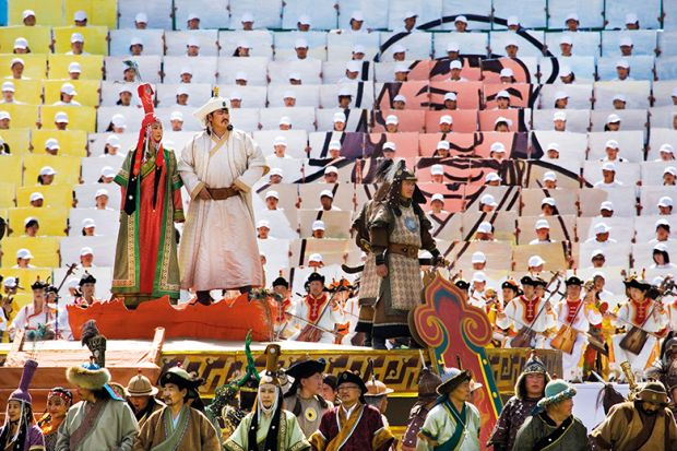 The concept of a Chinese Great State dates back to the rule of Genghis Khan in the 13th century, here celebrated at the Naadam Festival