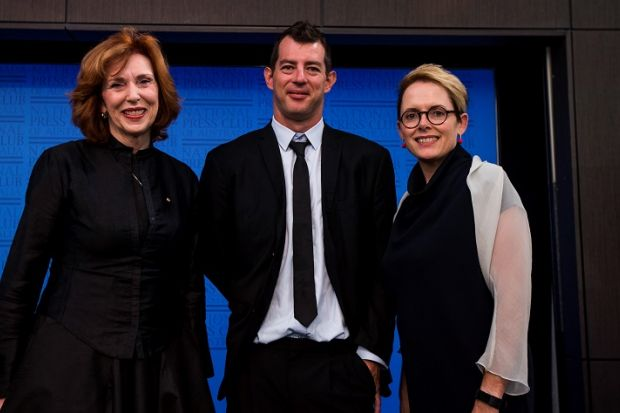 Chris Mills with Margaret Gardner (left) and journalist Sabra Lane