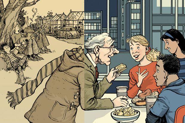 Illustration of elderly professor with students