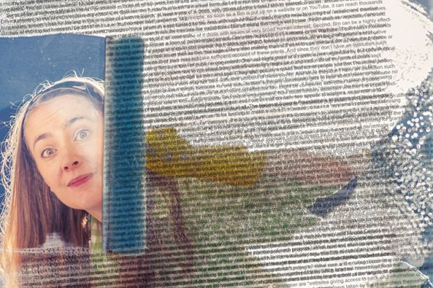 woman cleaning window with overlaid text