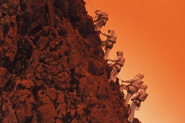 Climbing Martian mountain