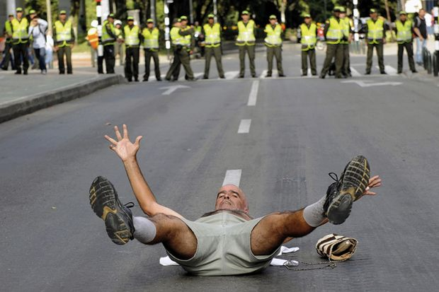 Colombian protester