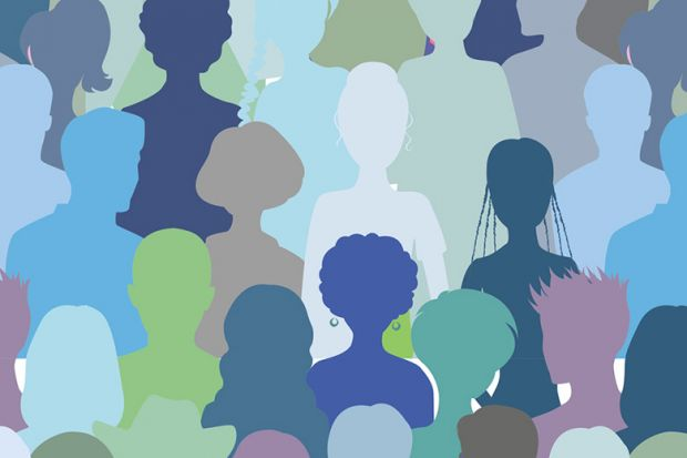 Coloured silhouettes of people's heads (illustration)