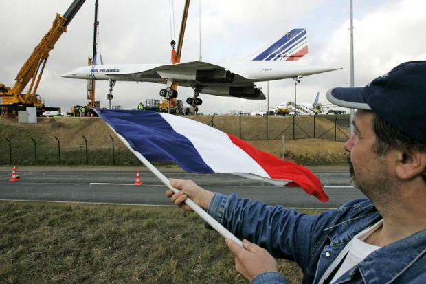 Concorde enthusiast waves French flag