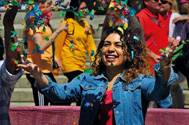 woman with confetti