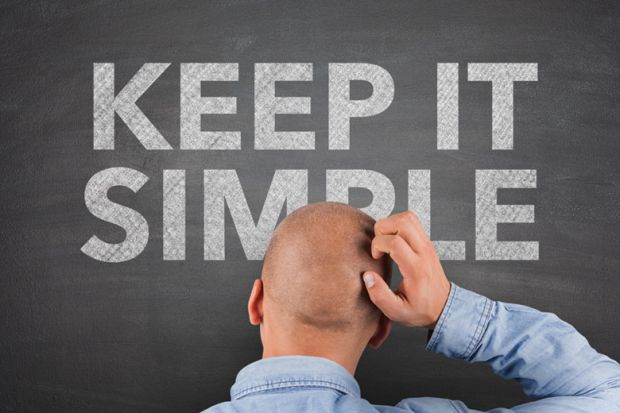 Confused man looking at 'Keep it simple' sign