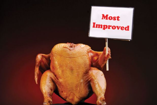 Cooked chicken holding 'Most Improved' sign