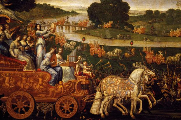 A painting of horse-pulled carriages in a procession