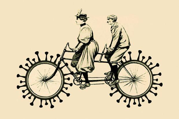 Woman and man on a tandem bike with coronavirus wheels