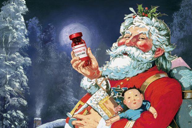 Illustration of Santa with Covid-19 vaccine