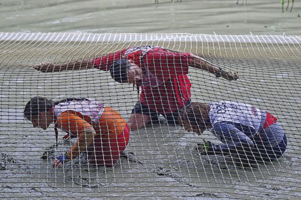 Crawling under net