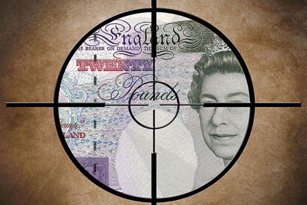 Crosshair on money