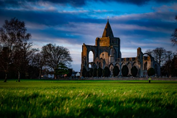 Crowland Abbey in  Lincolnshire, almost destroyed in dissolution, illustrating Ann Hughes' review of 'The Dissolution of the Monasteries:  ANew History' by James Clark