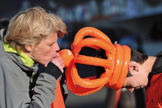 Orange inflatable crown