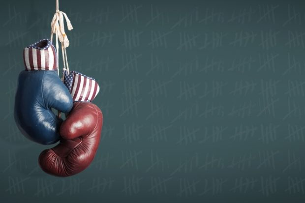 Boxing gloves with Republican and Democrat logos