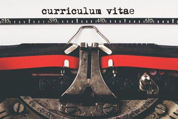CV on old typewriter