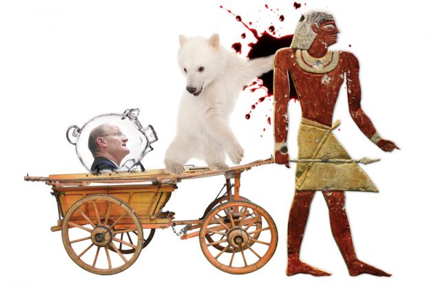 David Willetts and polar bear cub riding carriage pulled by Egyptian wall painting