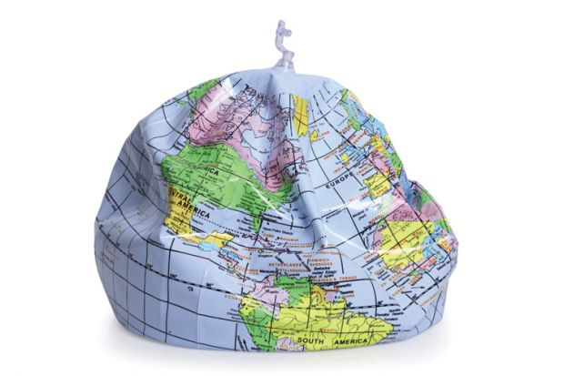 Deflated inflatable globe