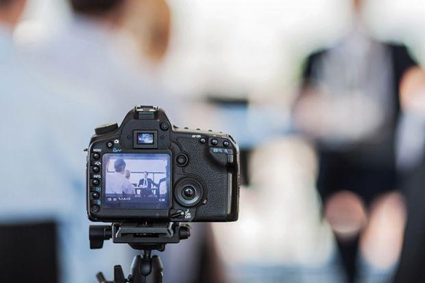 Digital video camera recording lecture